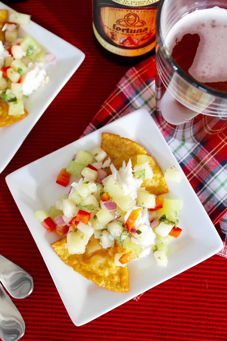 Halibut Tostadas with Melon Salsa